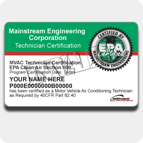EPA 609 Certification Card
