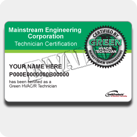 Green HVAC/R Certification Card