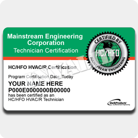 HC/HFO Certification Card