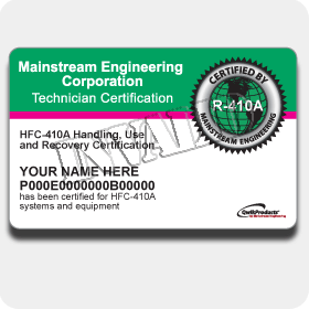 R-410A Certification Card